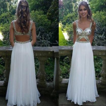 Long Chiffon White Prom Dresses Spa..