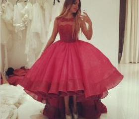 High Low Red Organza..