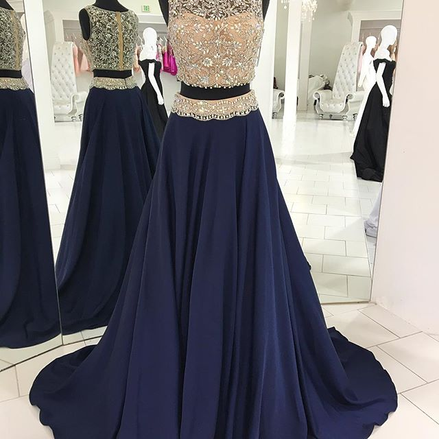 2 Pieces Long Chiffon Prom Dress Scoop Neck Beaded Women Dress