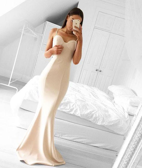 Spaghetti straps Mermaid Ivory Satin Prom Dress Floor Length Women Evening Dress 2019