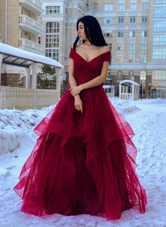 Off the Shoulder Long A-line Tulle Prom Dress Fashion Women Evening Dress 2019