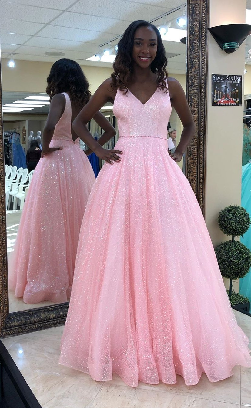 50aebff5068 Open Back A-line Pink Prom Dress V Neck Long Women Evening Dress 2019