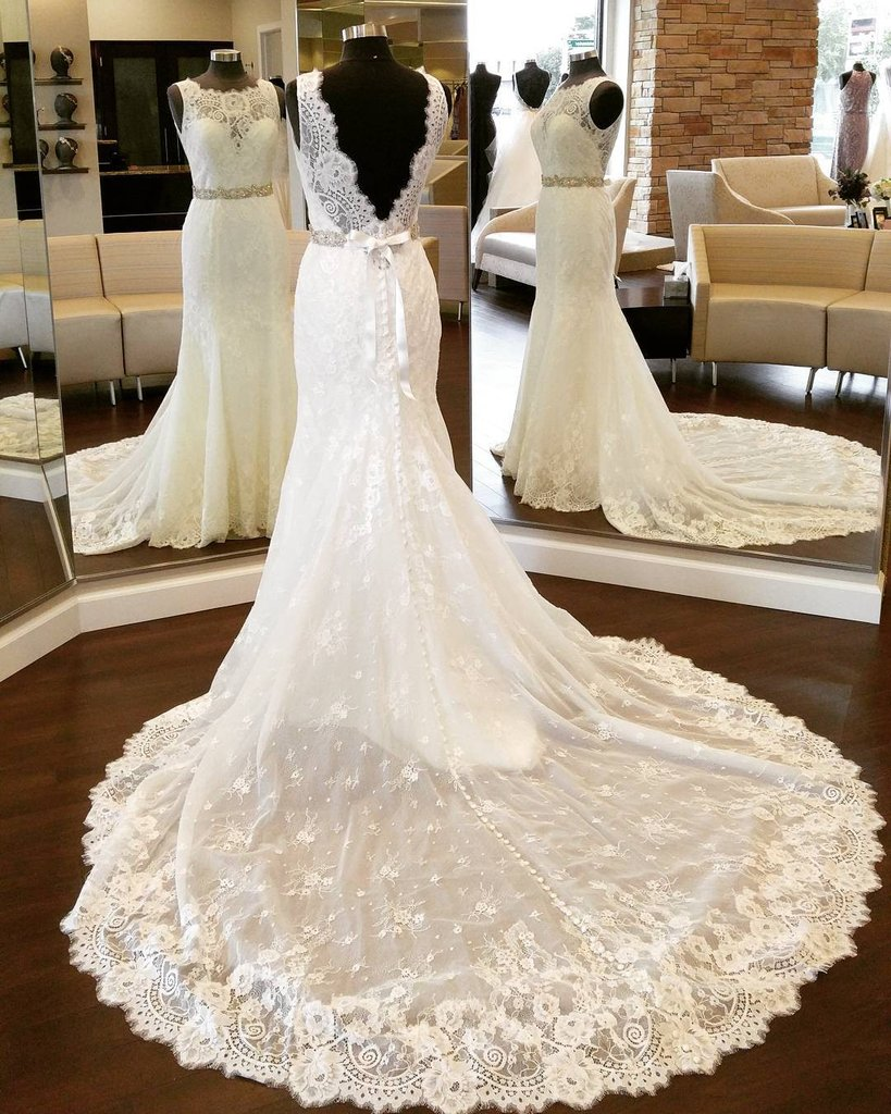 Open Back Long Mermaid Ivory Lace Wedding Dress Sleeveless Women bridal Gowns