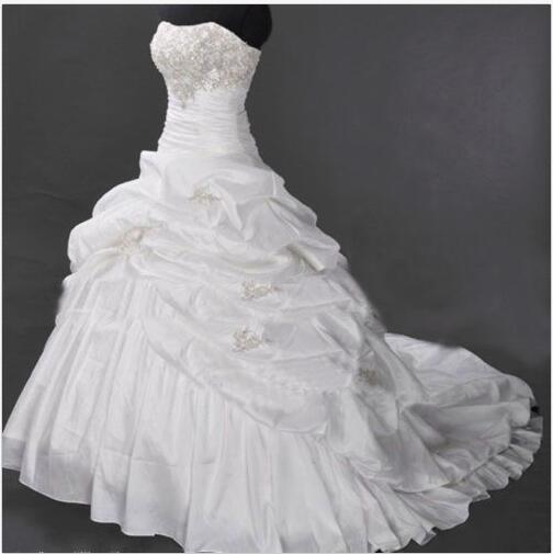 Charming Ruffle Organza Wedding Dress Beaded Floor Length Women Bridal Gowns