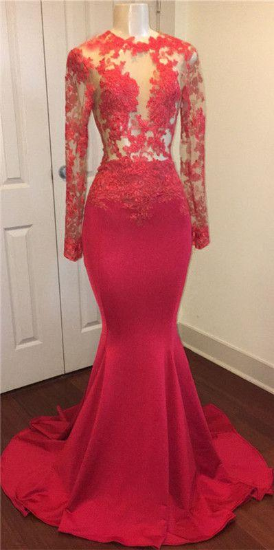 Long Sleeves Mermaid Red Satin Prom Dress Lace Appliqeus Women Evening Dress 2019