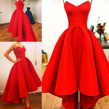 Charming Red Satin Prom Dresses Sexy Sweetheart Neck Women Dresses 2016 Custom Made Party Dresses
