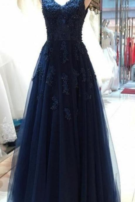 V Neck Navy Blue Tulle Prom Dress Lace Appliques Women formal Evening Dress