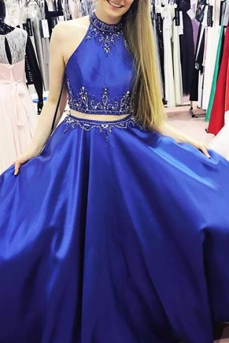 2 Pieces Royal Blue Satin Prom Dress Halter Neck beaded Floor Length Women Evening Dress