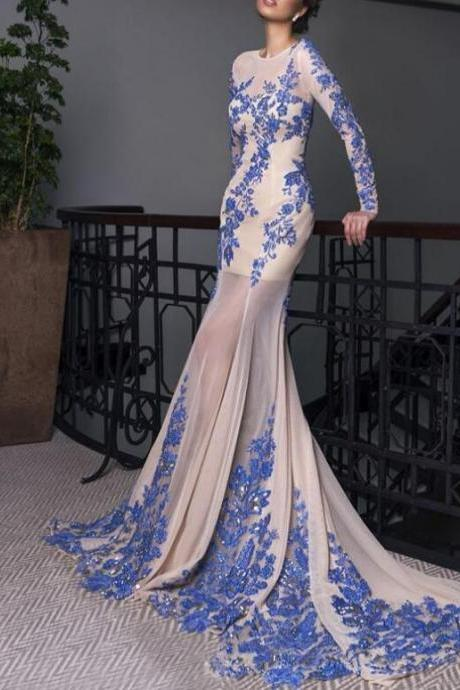Long Sleeves Sexy Mermaid Long Chiffon Prom Dress Lace Appliques Women Party dress 2019