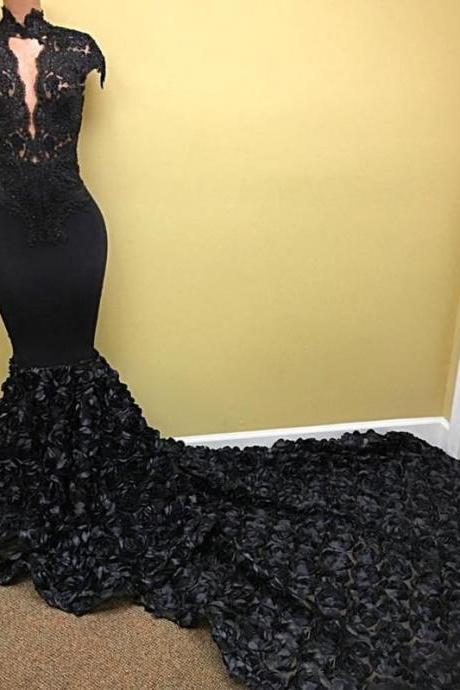 Halter Neck Mermaid Black Prom Dress Cap Sleeves Lace Appliques Women Evening Dress