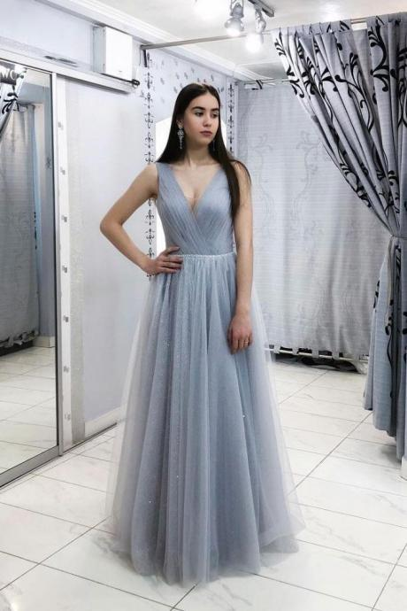 V Neck A-line Long Tulle Prom Dress Floor Length Women Evening Dress 2019