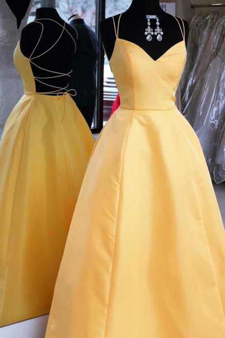 Spaghetti Straps A-line Long Yellow Satin Prom Dress Open back Women Evening Dress 2019