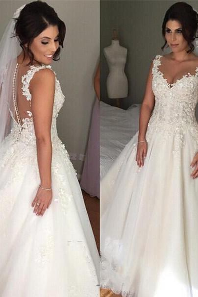 Sleeveles White A-line Tulle Wedding Dress Lace Appliques Women Bridal Gowns