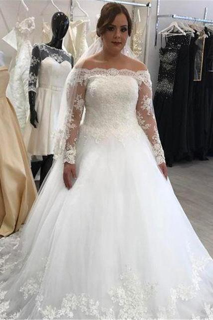 Off the Shoulder A-line Plus Size Lace Tulle Wedding Dress Lace Appliques Women Bridal Gowns