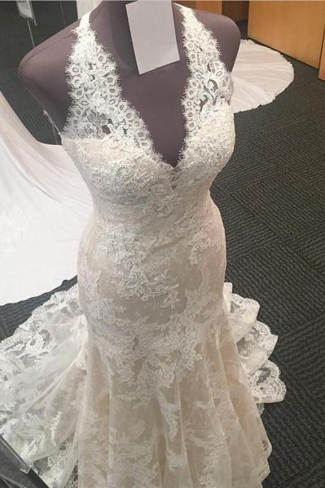 Halter Neck Mermaid Lace Wedding Dress Floor Length Women Bridal gowns