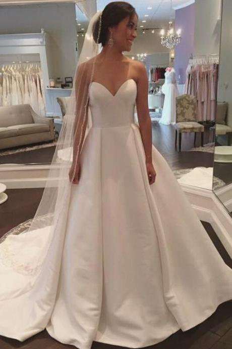 Strapless A-line White Satin Wedding Dress Floor Length Women Bridal Gowns