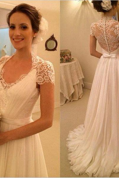 Short Sleeves a-line Long Chiffon White Wedding Dress Lace Women Bridal Gowns