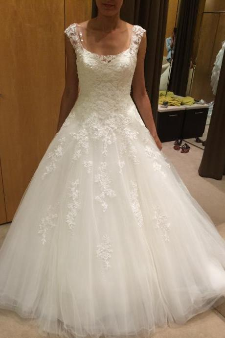 Scoop Neck A-line White Tulle Wedding Dress Lace Appliques Women Bridal Gowns