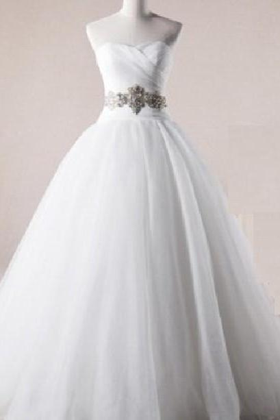 Strapless A-line Tulle Wedding Dress Pleated Floor Length Women Bridal Gowns