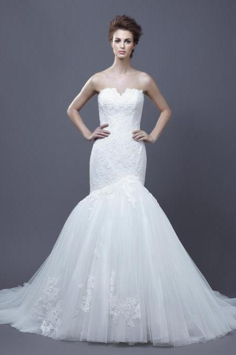 White Mermaid Tulle Wedding Dress Strapless Lace Appliques Women Bridal gowns 2019