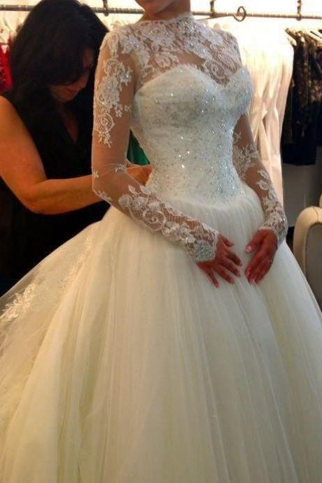 Long Sleeves Ball Gow Tulle Wedding Dress Lace Appliques Beaded Floor Length Women Bridal Gowns