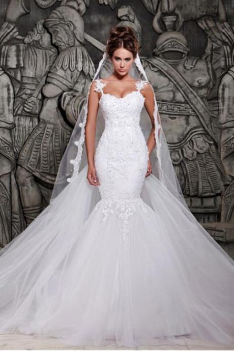 Spaghetti Straps Mermaid Tulle Wedding Dress Lace Appliques Women Bridal Gowns