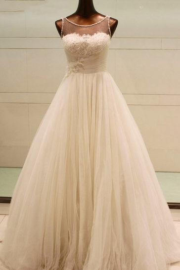 Scoop Neck A-line Tulle Wedding Dress Lace Appliques Floor Length Women Bridal Gowns