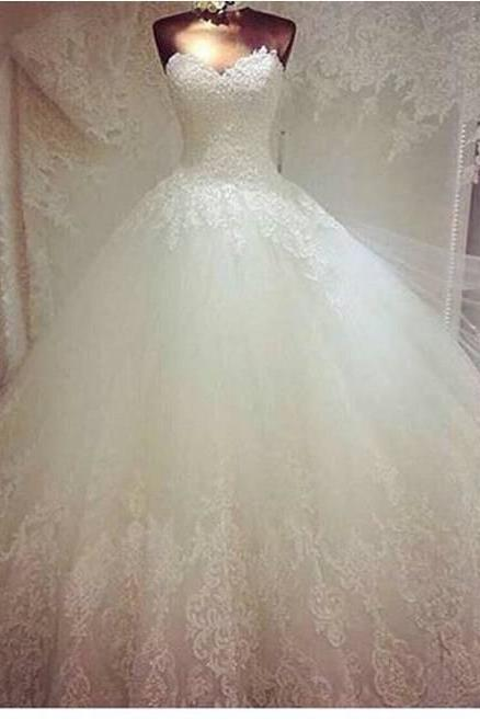 Strapless ball Gown Tulle Wedding Dress Lace Appliques Women Bridal Gowns