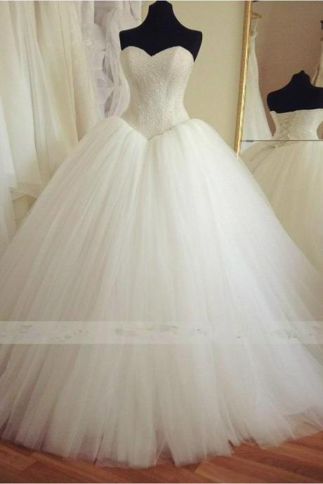 Ball Gown White Tulle Wedding Dress Strapless Lace-up Womrn Bridal gowns