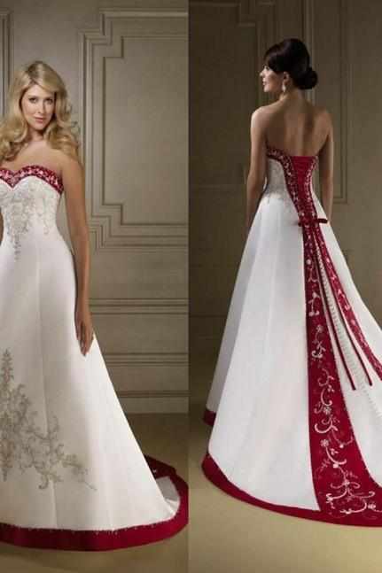 Strapless A-line White Satin Wedding Dress Embrodiery Beaded Women Bridal Gowns