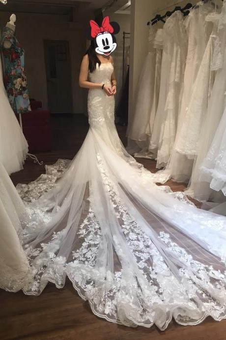 Strapless Big Tail Tulle Wedding Dress Strapless Women Bridal Gowns