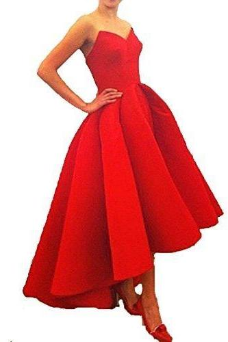 HIgh long Red Satin Prom Dress Strapless Women Party Dress 2019