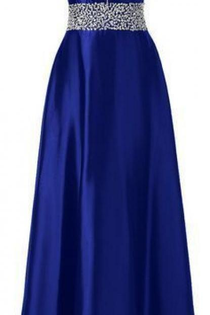 Long Royal Blue Satin prom Dress Beaded Women Evening Dress