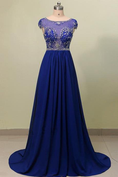 Cap Sleeve Long Chiffon Prom Dress Scoop Neck beaded Royal Blue Evening Dress