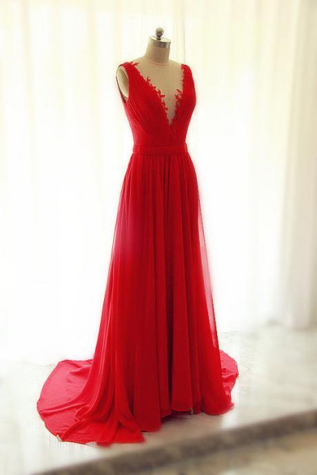 V Neck A-line Chiffon Prom Dress Floor Length Open back Women Evening Dress 2019
