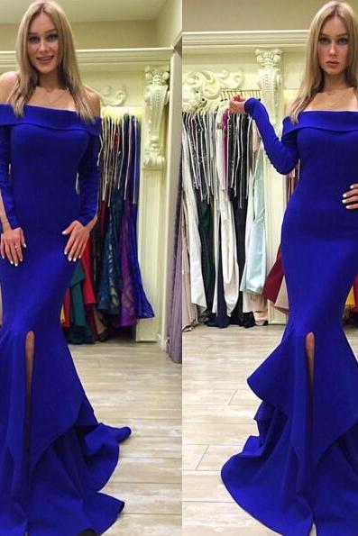 Off the Shoulder Mermaid Royal Blue Satin Prom Dress Slit Women Evening Dress 2019