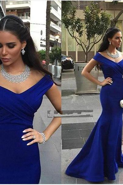 Off the Shoulder Mermaid Royal Blue Satin Prom Dress Floor Length Women Evening Dress 2019