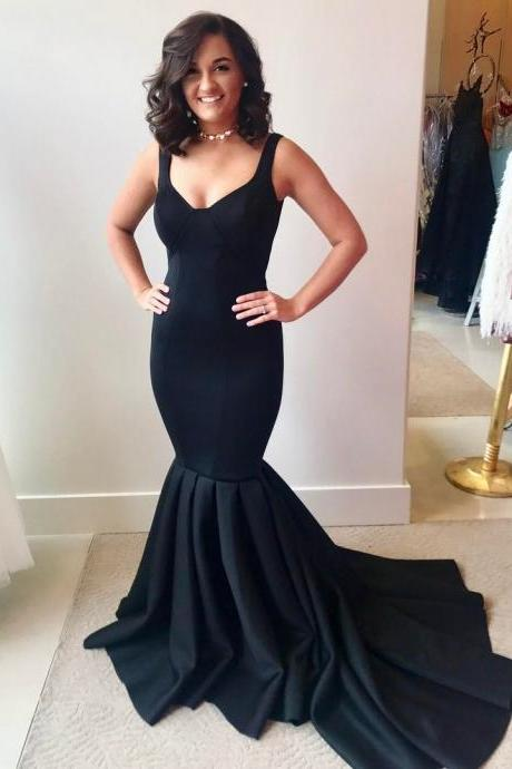 Mermaid Black Satin Prom Dress Straps Long Women Evening Dress 2019