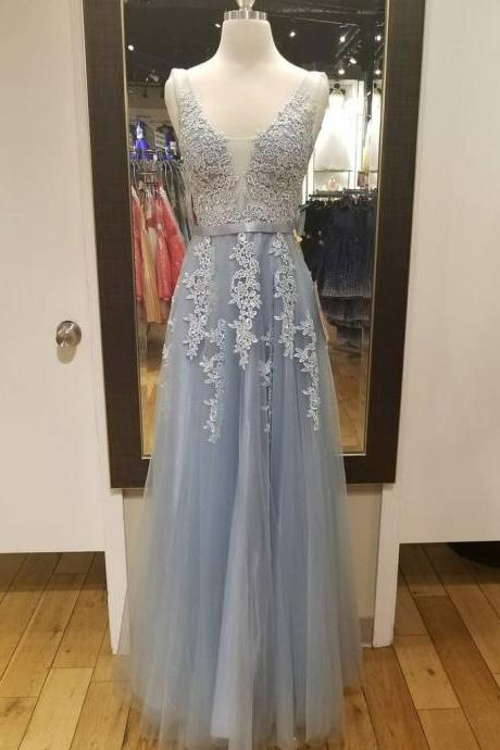 V Neck A-line Light Blue Tulle Prom Dress Lace Appliques women Evening Dress