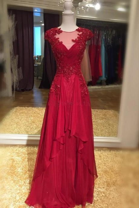 Cap Sleeves A-line Long Red Chiffon Prom Dress lace Appliques women Evening Dress