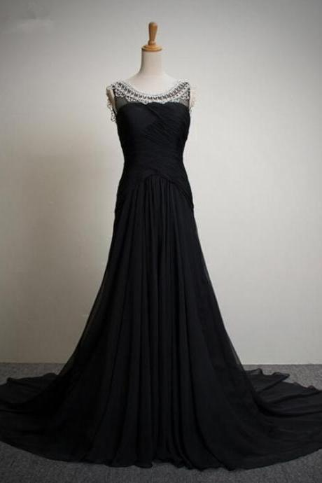 Scoop Neck Long Black Chiffon Prom Dress beaded Floor Length Women Evening Dress 2019