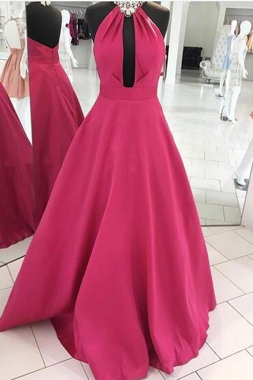 Halter Neck A-line Long Satin Prom Dress Open back floor length Women Evening Dress 2019