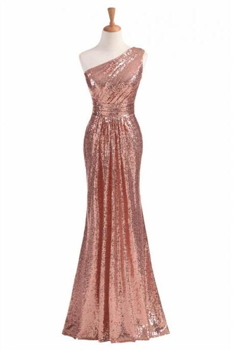 One Shoulder Sheath Sequin Prom Dress Floor Length Women Evening Dress 2019