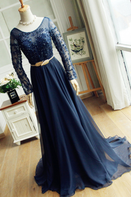 Scoop Neck Long Chiffon Navy Blue Prom Dress Beaded Floor Length Women Dresss 2019