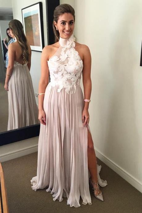 Halter Neck Long Chiffon prom Dress Lace Appliques Women Evening Dress 2019