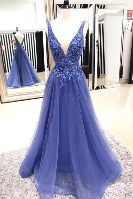 Deep V Neck Tulle Prom Dress Lace Appliques Women Evening Dress 2019