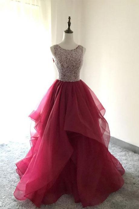 Scoop Neck A-line Tulle Prom dress Beaded Women Party Dress 2019
