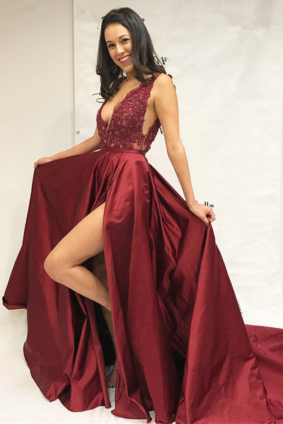 High Slit Satin Long Prom Dress Deep V Neck Lace Appliques Women Evening Dress