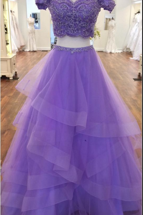Off the Shoulder A-line Purple Tulle Prom Dress Lace appliques Women Evening Dress
