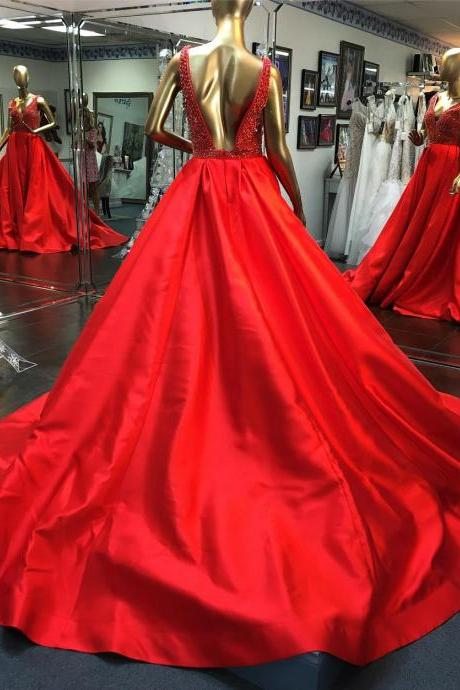 Open Back Ball Gown Satin Red Prom Dress V Neck Women Evening Dress 2019